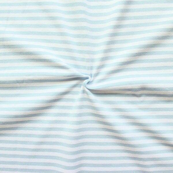 Baumwoll Stretch Jersey Ringel Streifen Weiss Hell-Blau