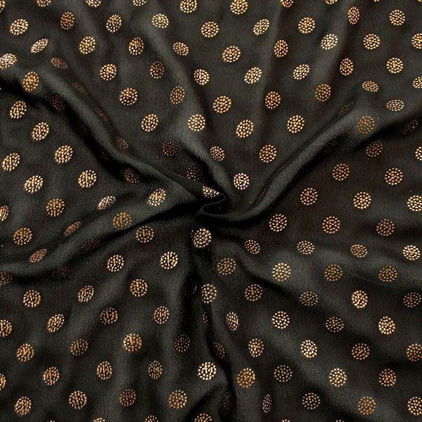 Polyester Chiffon Metallic Flock Gold Spots Schwarz