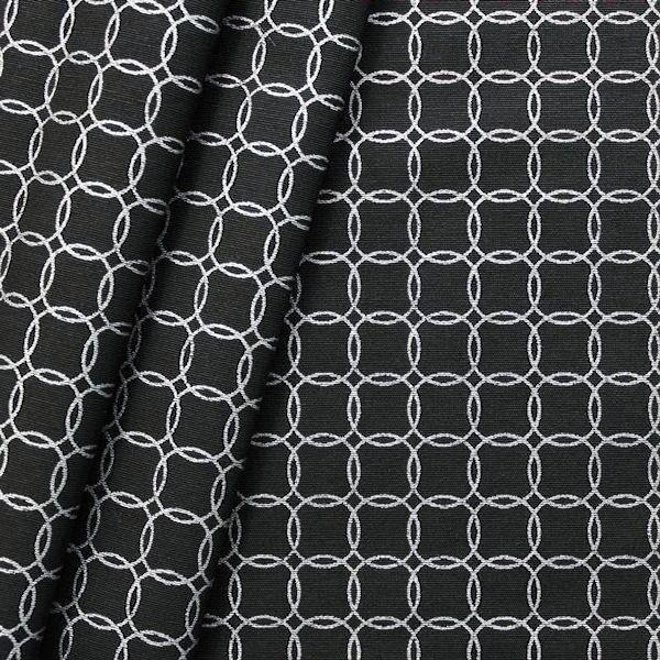 Dekostoff Ringe Schwarz Silber