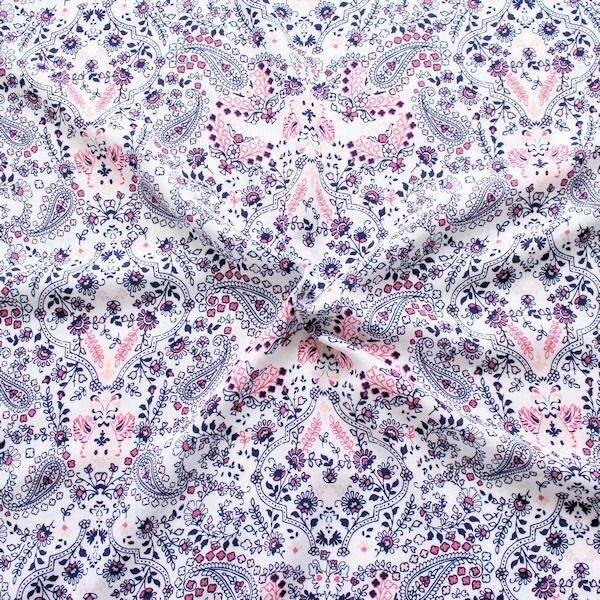 "100% Viskose Javanaise ""Flowers & Paisley 4"" Farbe Weiss"