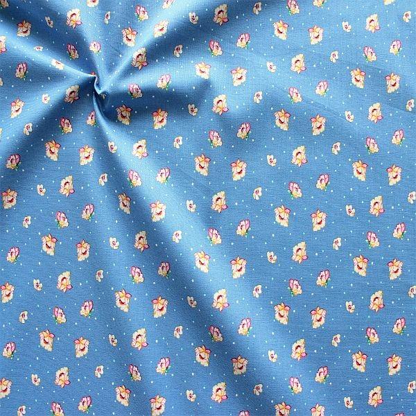 Baumwollstoff Blüten & Punkte Blau