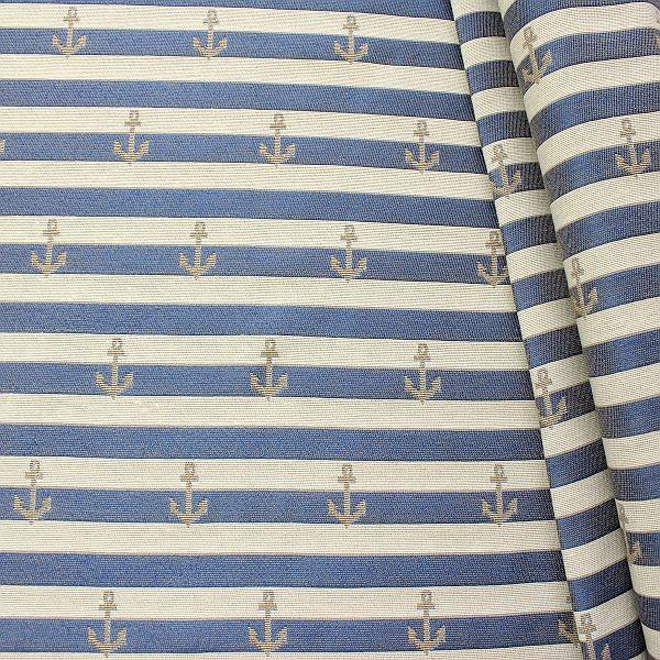 Jacquard Dekostoff Doubleface Streifen & Anker Blau-Ecru