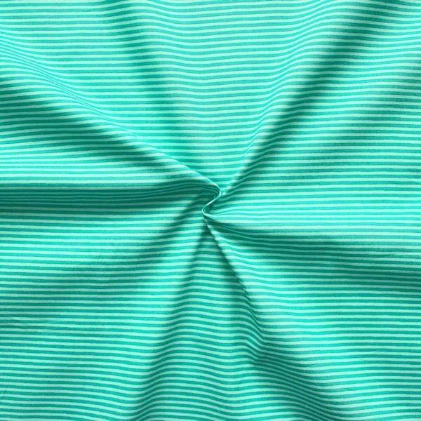 """100% Baumwollstoff """"Ringel Klein"""" Farbe Mint-Türkis"""