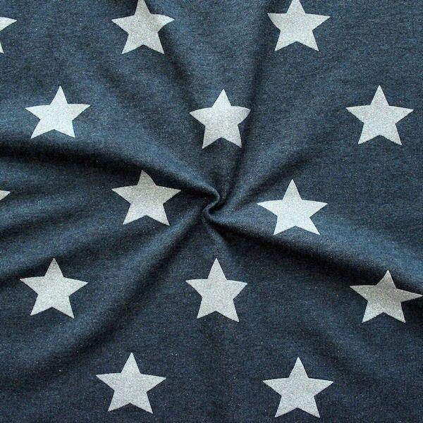 Sweatshirt Baumwollstoff Glitzer Sterne Dunkelblau meliert