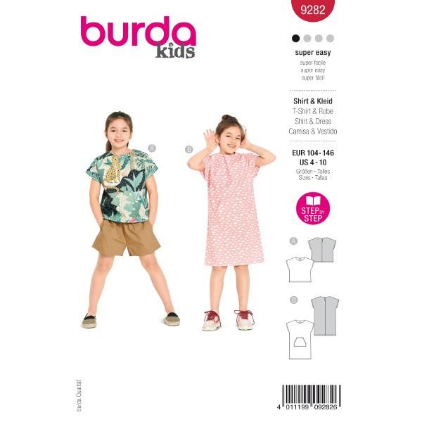 Shirt und Kleid Kinder, Gr. 104 - 146 Schnittmuster Burda 9282
