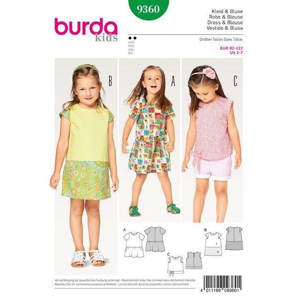 Kleid - Bluse - eingereiter Rock - Blenden, Gr. 92 - 122, Schnittmuster Burda 9360