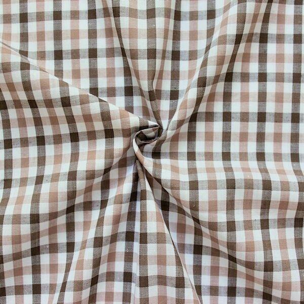 """Baumwollstoff Hemden Qualität """"Fashion Karo 3"""" Farbe Braun-Weiss-Beige"""