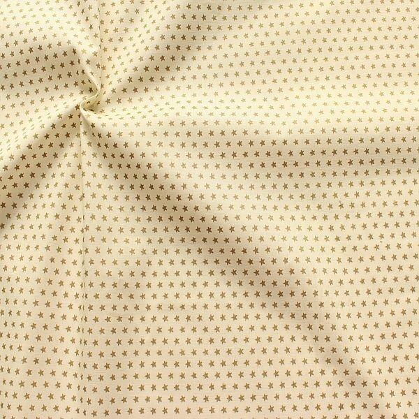 Baumwolle Popeline Gold Sterne klein Creme-Weiss