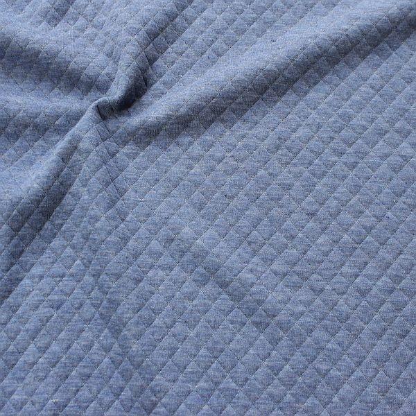 Modestoff Dekostoff Stepp-Optik Rauten Klein Blau meliert