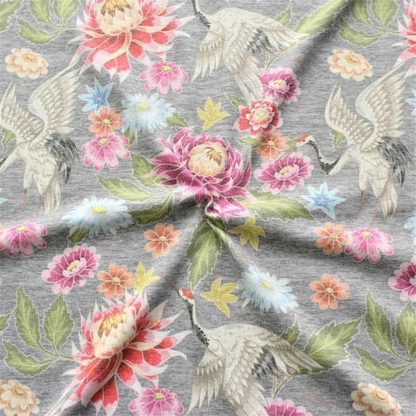Baumwoll Stretch Jersey Kranich & Blüten Grau meliert