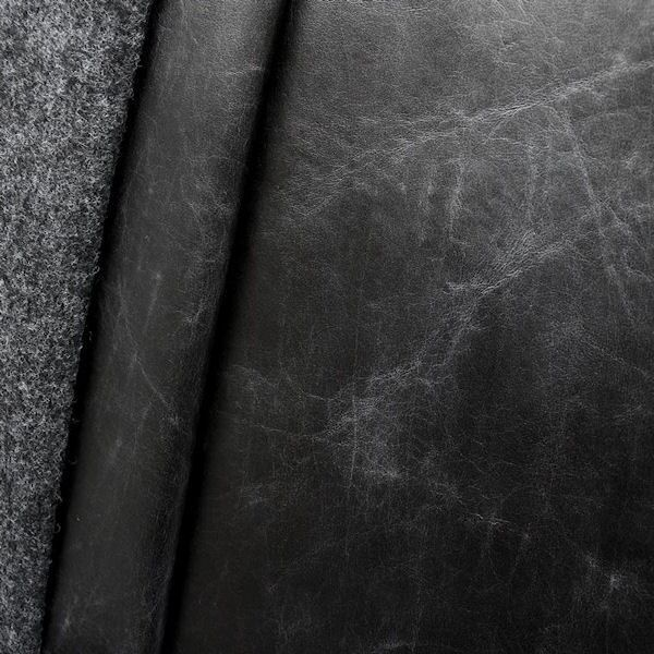 Polster- Möbelstoff Leder Imitat Vintage Look Schwarz