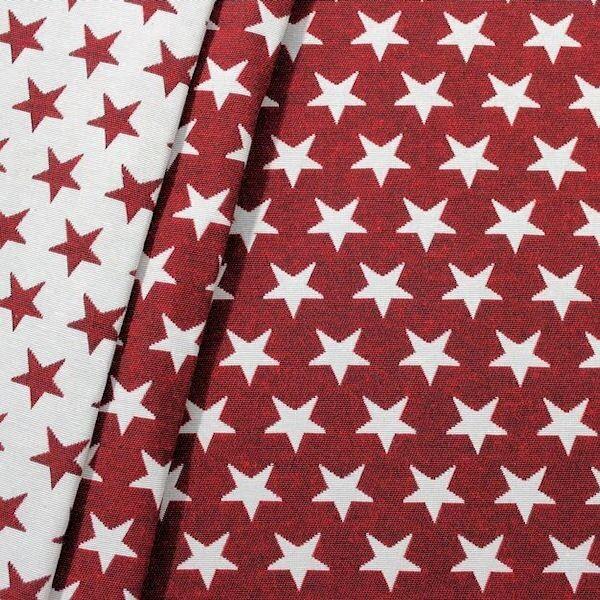 Jacquard Dekostoff Doubleface Stars Rot-Weiss