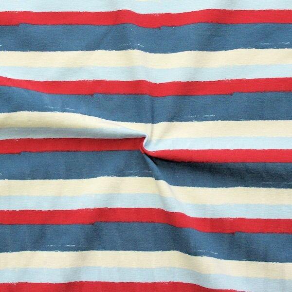 """Baumwoll Stretch Jersey """"Fashion Stripes 3"""" Farbe Blau-Rot-Beige"""