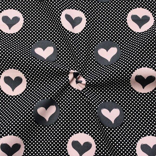 Baumwollstoff Hearts & Dots Schwarz-Rosa