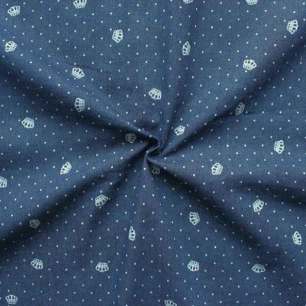 """Stretch Denim Jeans Stoff """"Kronen & Punkte"""" Farbe Dunkel-Blau"""