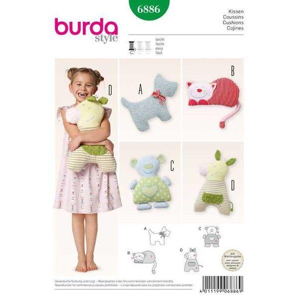 Burda 6886 Tierkissen zum Kuscheln und Spielen Schnittmuster für Bär, Hund, Katze und Pferdchen