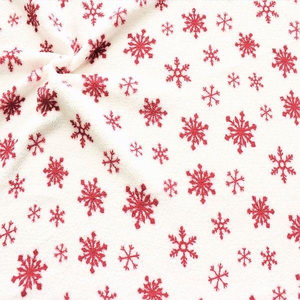 Wellness Fleece Eiskristalle Weiss-Rot