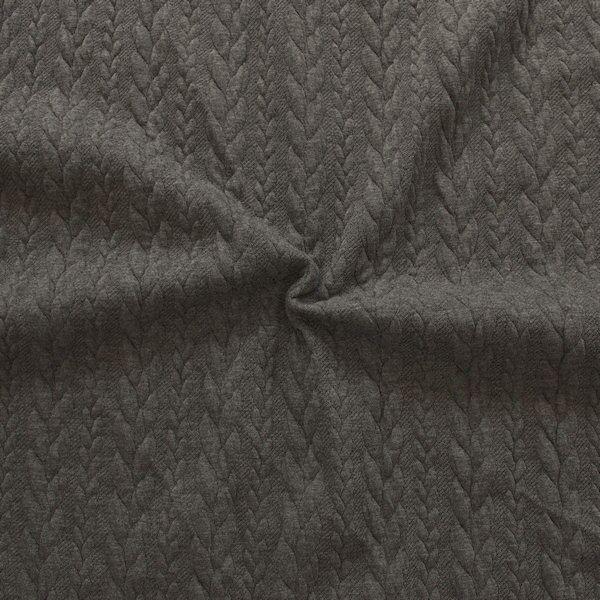 Jacquard Strick Jersey Zopfmuster Dunkel-Grau