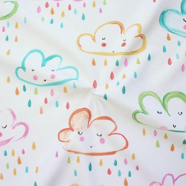 Dekostoff Digital Druck Regenwolken Weiss