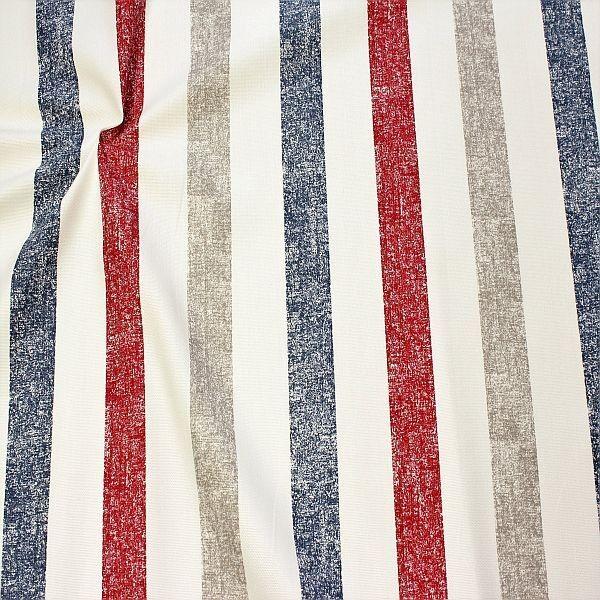 Dekostoff Halbpanama Vintage Stripes Rot-Blau-Beige