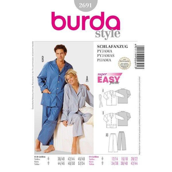 Schlafanzug - Damen und Herren, Gr. 38 - 48, Schnittmuster Burda 2691