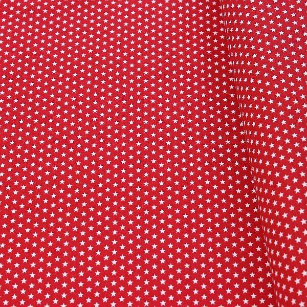 Baumwollstoff Sterne mini Rot-Weiss