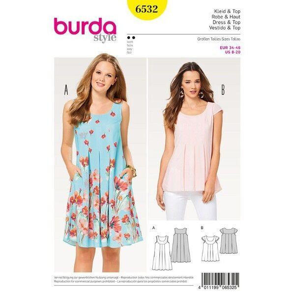 Kleid - Hängerkleid - Top - Passe, Gr. 34 - 46, Schnittmuster Burda 6532