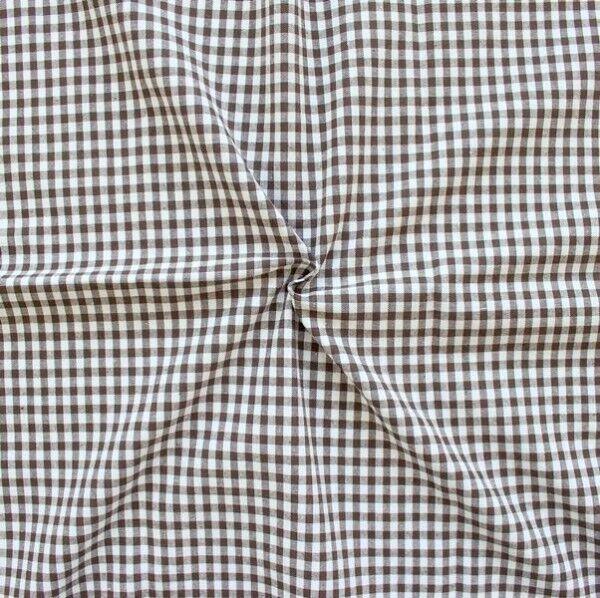 """100% Baumwollstoff """"Karos mittel"""" Farbe Braun-Weiss"""