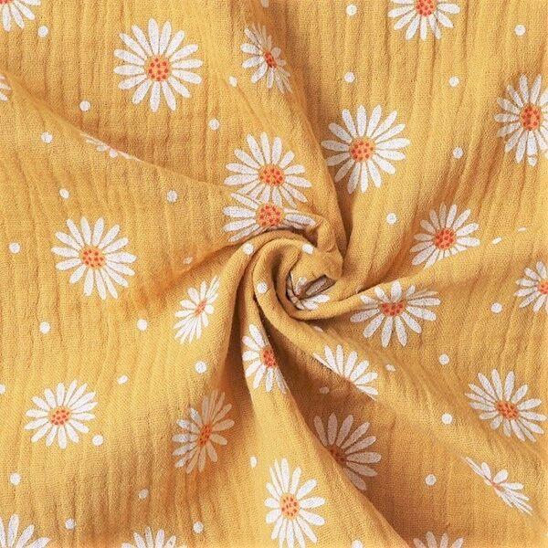 Double Gauze Sonnenblumen Punkte Mix Curry-Gelb