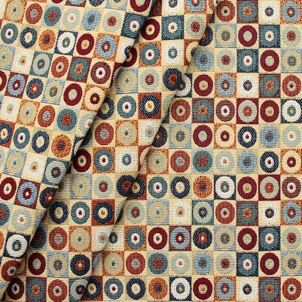 """Gobelin Möbelstoff / Dekostoff """"Kreis-Quadrat"""" Farbe Multicolor"""