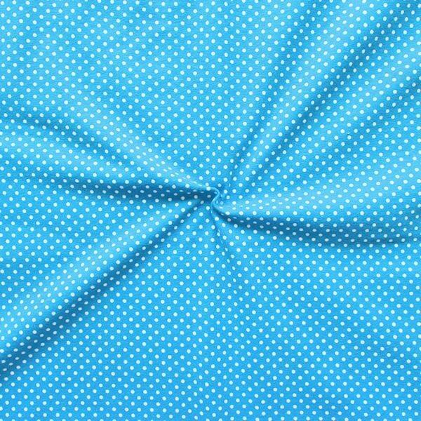 """Baumwoll Stretch Jersey """"Punkte klein"""" Farbe Capri-Blau Weiss"""