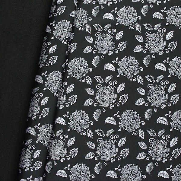 Softshell Fleece Stoff Lotus Blüte Schwarz
