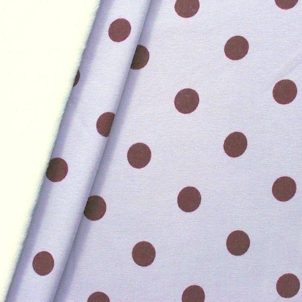 "2,00 Meter Alpenfleece Sweatshirt ""Punkte Groß"" Farbe Hell-Lila"
