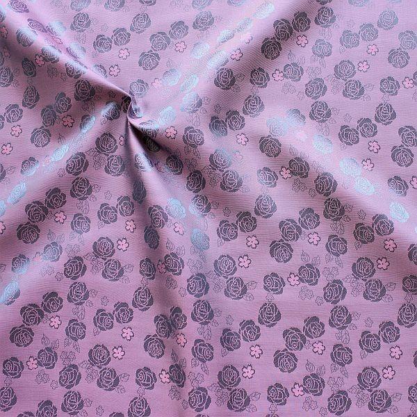 Futterstoff Jacquard Rosenblüten Lila-Violett