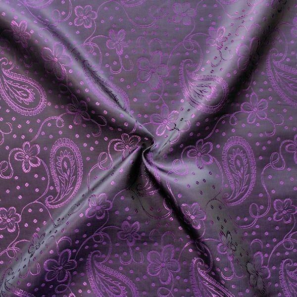 Futterstoff Jacquard Blumen Paisley Lila-Violett Schwarz changierend