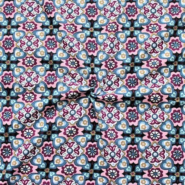 """Baumwoll Stretch Jersey """"Retro Blumen"""" Farbe Blau-Rosa"""