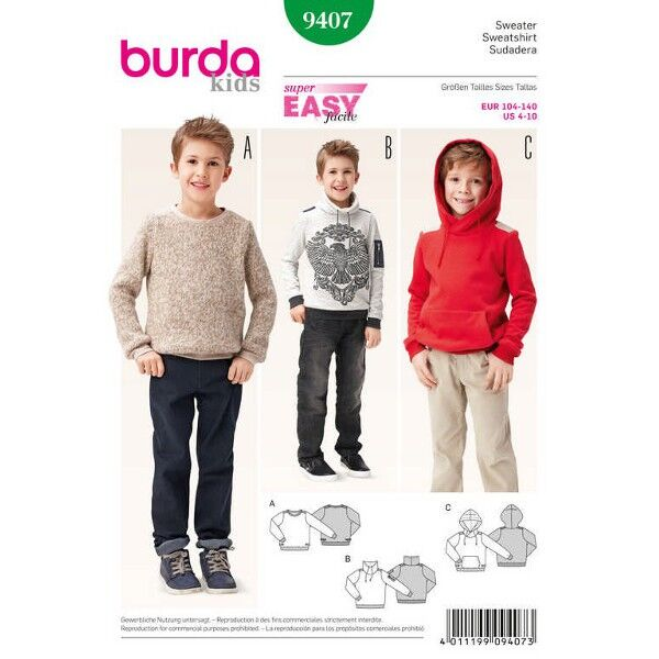 Burda 9407 Schnittmuster für sportive Jungenpullover, Sweater und Hoodys