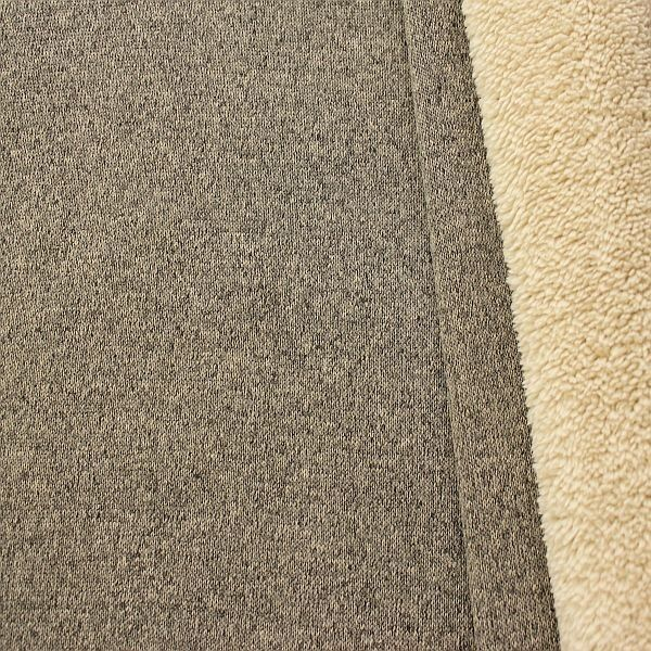 Strickstoff Teddyplüsch Melange Beige-Grau