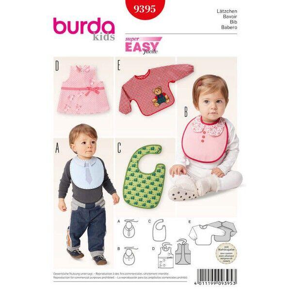 Burda 9395 Schnittmuster für Lätzchen-Varianten zum Binden, mit Schulterverschluss, als Schürzchen, Kittel oder Mal- und Bastelschürze