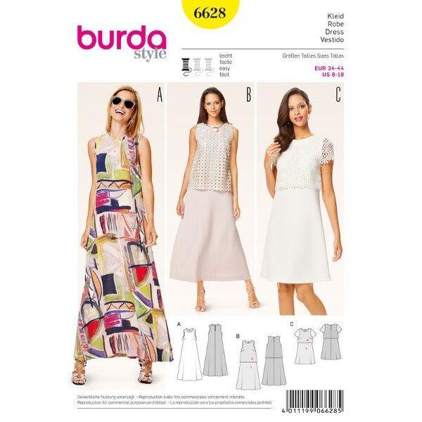 Sommerkleid – Kleid mit Spitzenüberteil – A-Linie, Gr. 34 - 44, Schnittmuster Burda 6628