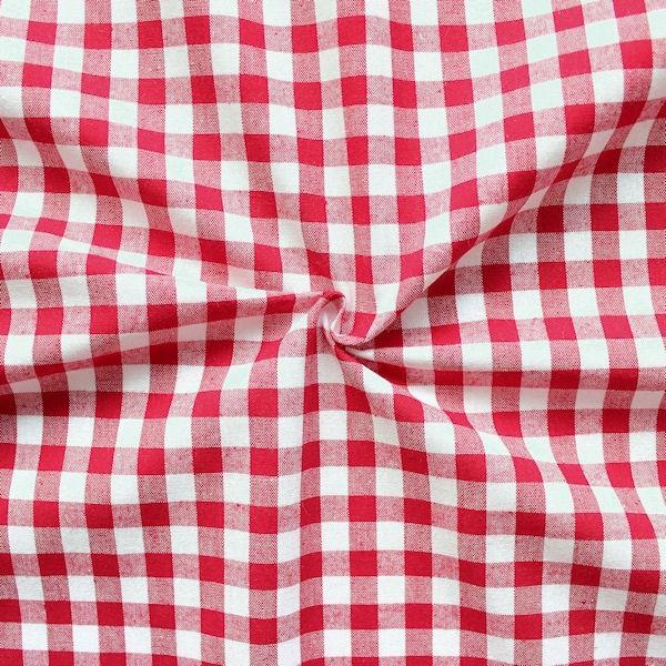 Baumwollstoff Vichy Karo Rot-Weiss