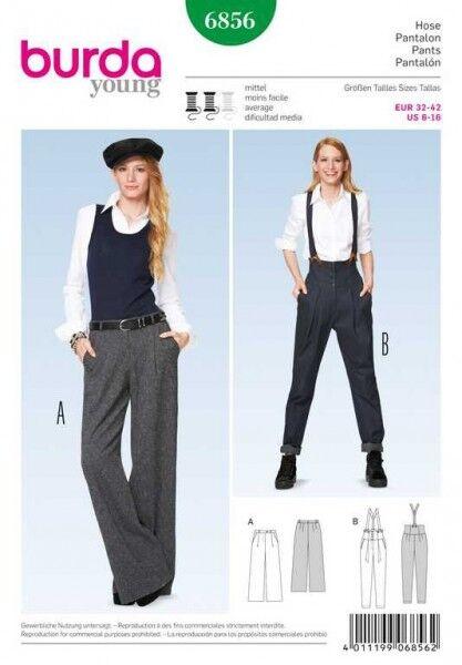 Hose mit Bundfalten – Marlene-Hose – Hosenträger, Gr. 32 - 42, Schnittmuster Burda 6856