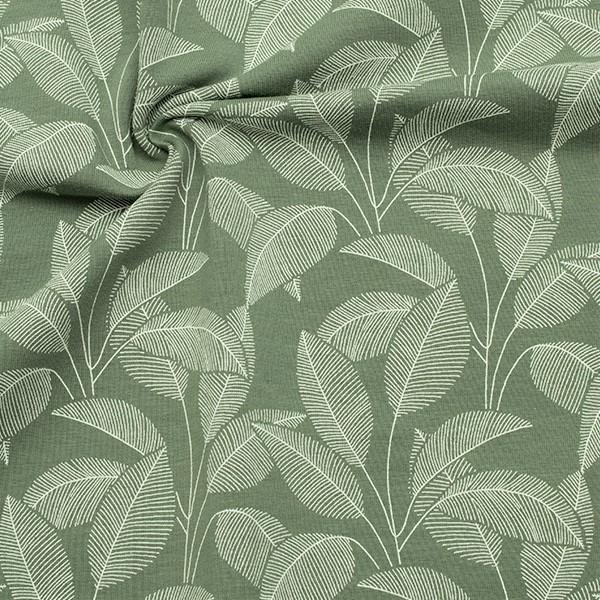 Organic Sweatshirt Baumwollstoff French Terry Blätterfächer Staub-Grün