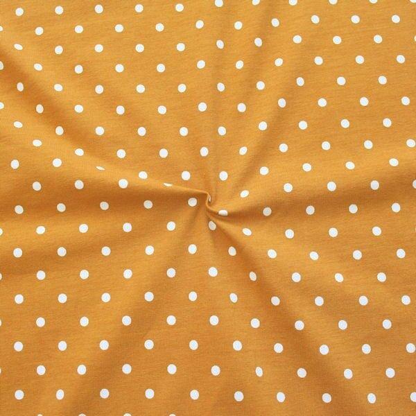 "Baumwoll Stretch Jersey ""Classic Dots 2"" Farbe Ocker-Weiss"