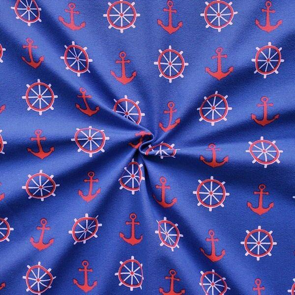 "4,00 Meter Baumwoll Stretch Jersey ""Anker & Steuerrad Groß"" Farbe Blau"
