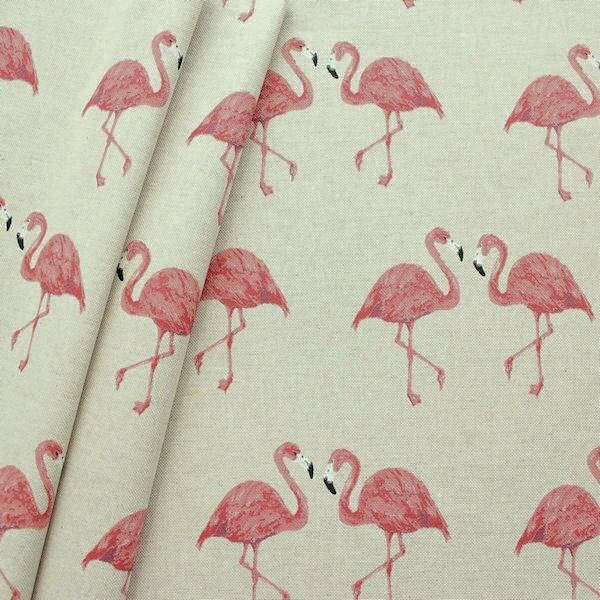 "Dekostoff ""Pink Flamingos"" Farbe Natur"