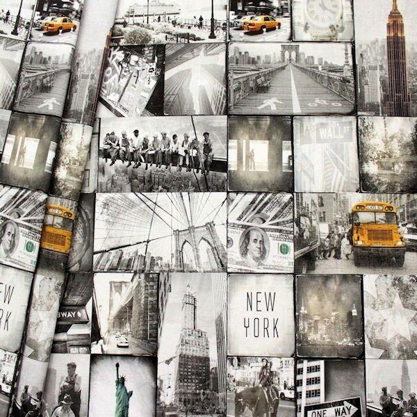 "Dekostoff Digital Druck ""New York"" Farbe Grau-Weiss"