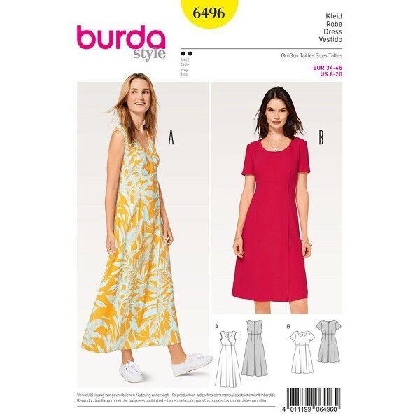 Kleid - hohe Taille - Wickeleffekt, Gr. 34 - 46, Schnittmuster Burda 6496