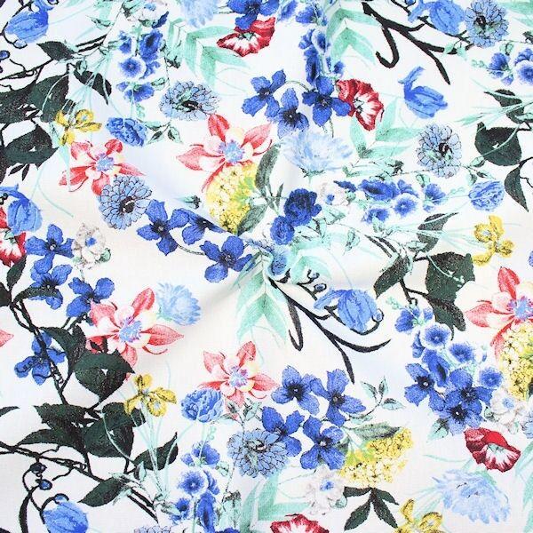 Leinen-Viskose Flower Mix Weiss Blau
