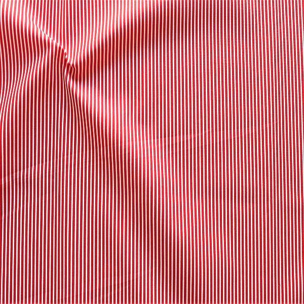 Baumwollstoff Längsstreifen fein Rot-Weiss